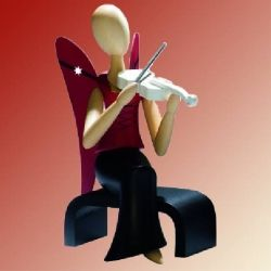 Design-Engel sitzend mit Geige
