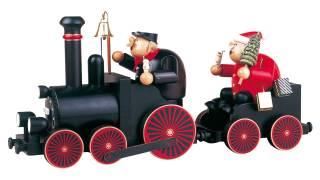 KWO Lokführer mit Eisenbahn und Weihnachtsmann
