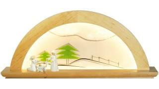 LED Schwibbogen Erle natur mit Glas - Tanne grün von KWO