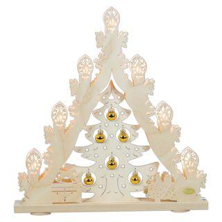 SAICO 3D Lichterspitze Weihnachtsbaum goldene Kugeln- Erzgebirge