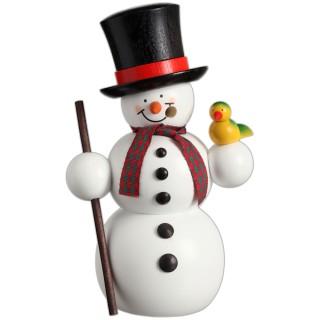 Räuchermännchen Schneemann mit Vogel