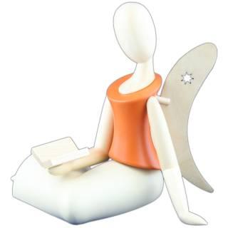Design-Engel sitzend mit Buch orange