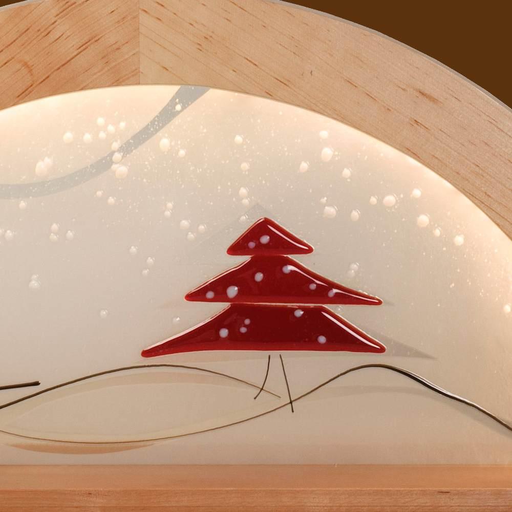 LED Schwibbogen Erle natur mit Glas - Tanne rot von KWO