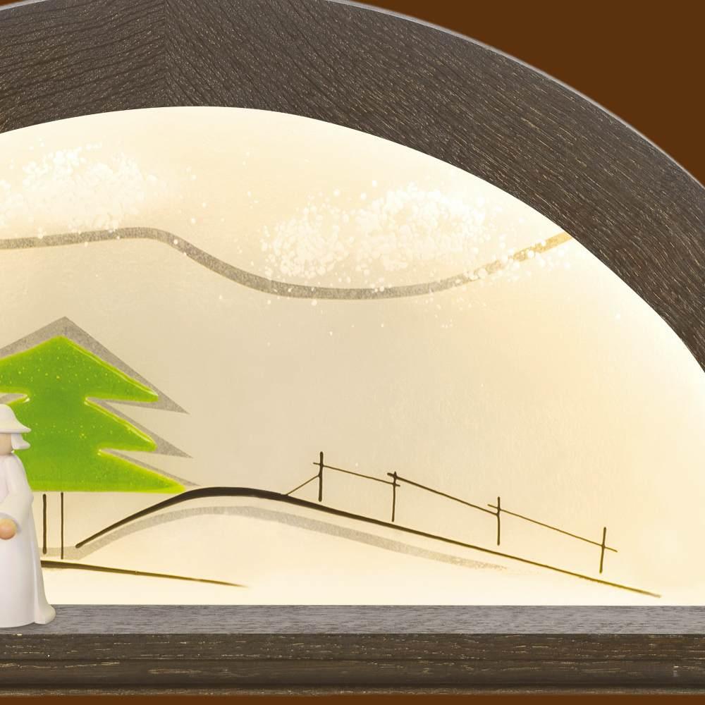 LED Schwibbogen Eiche - Farbton Mooreiche mit Glas - Tanne grün von KWO