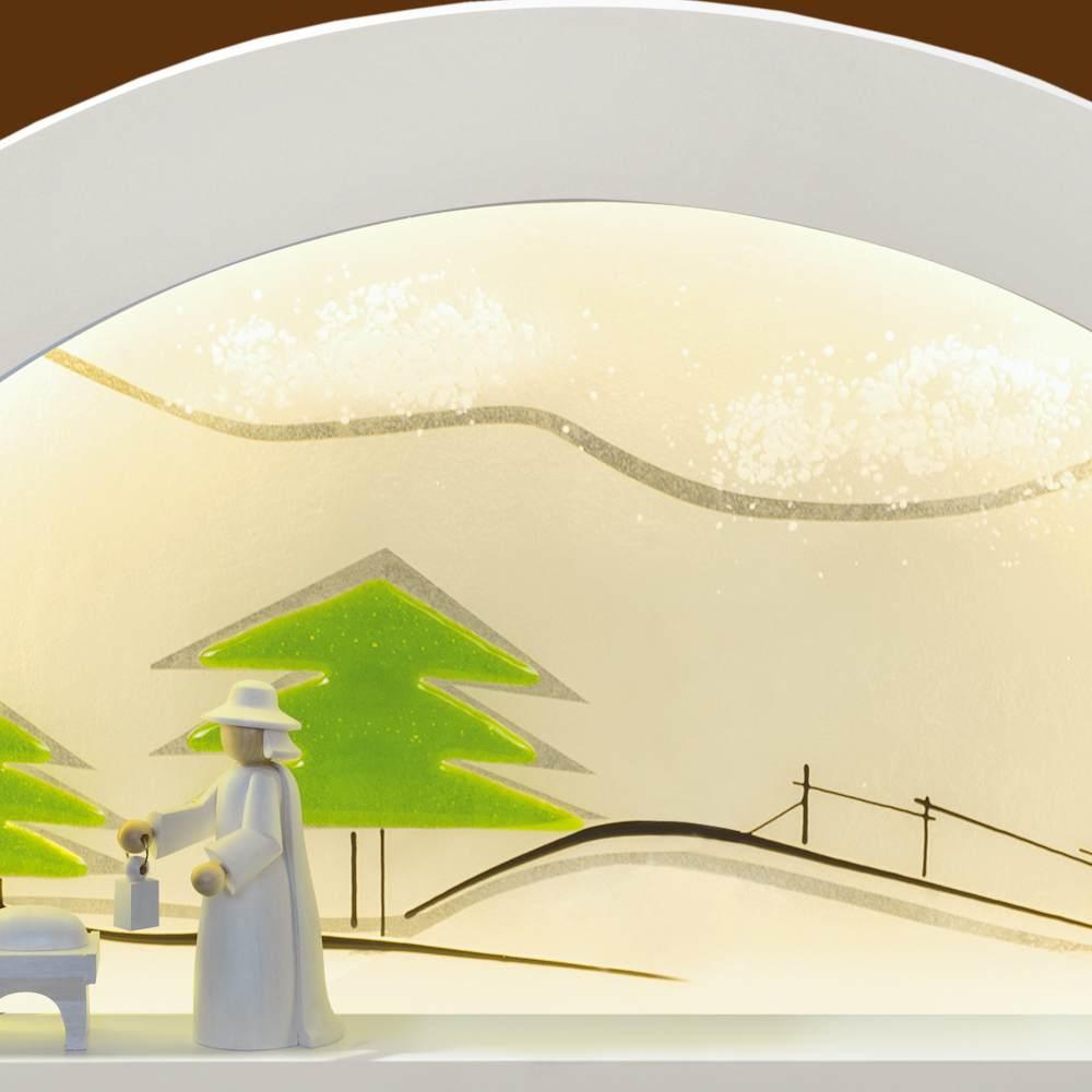 LED Schwibbogen Erle weiß mit Glas - Tanne grün von KWO