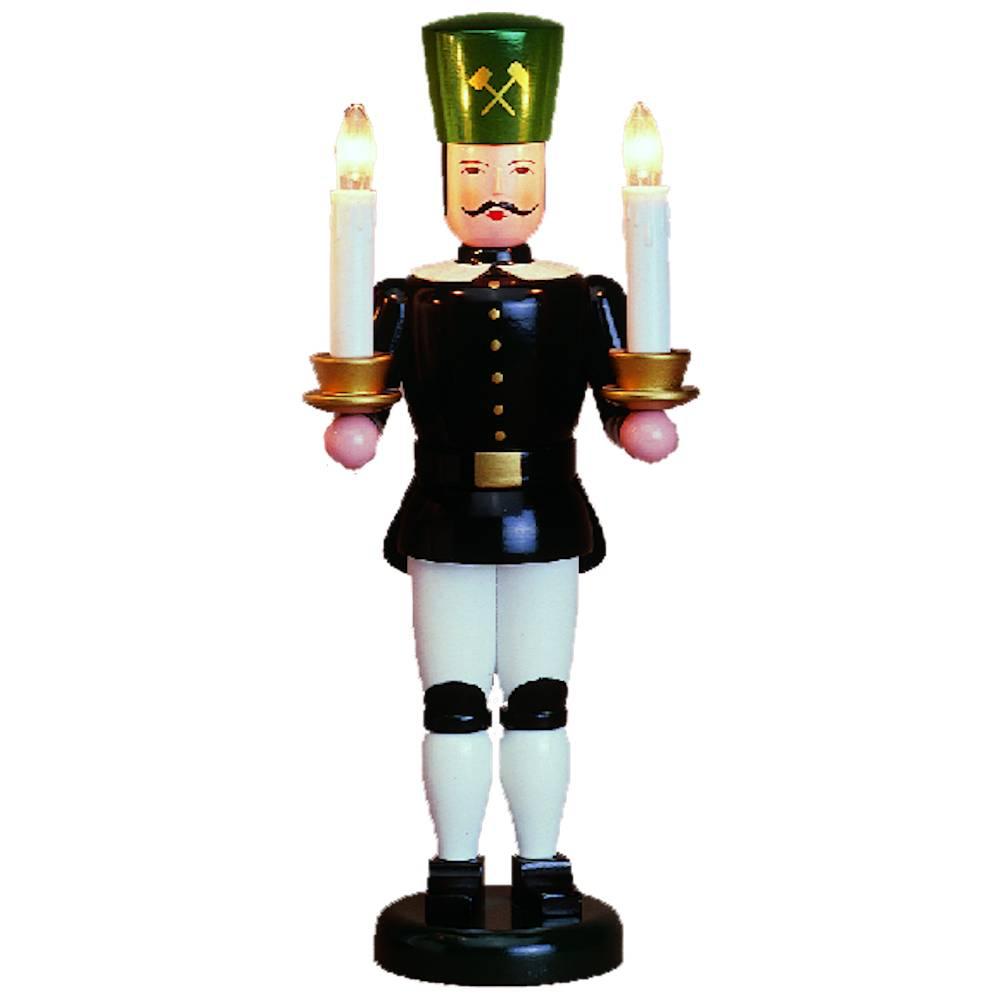 Lichterfigur Bergmann mit weißem Kragen - elektische Kerzen