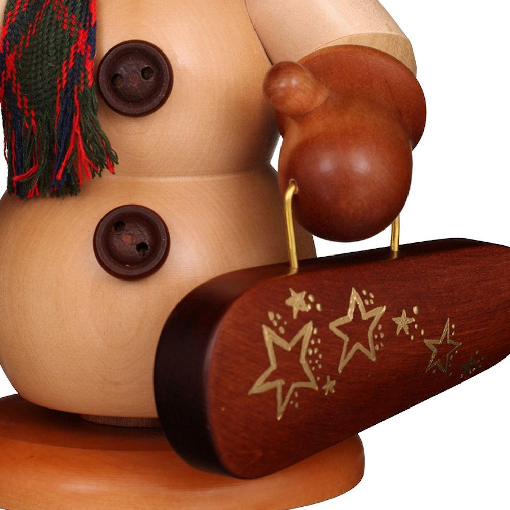 Räuchermännchen Schneemann mit Geigenkasten natur