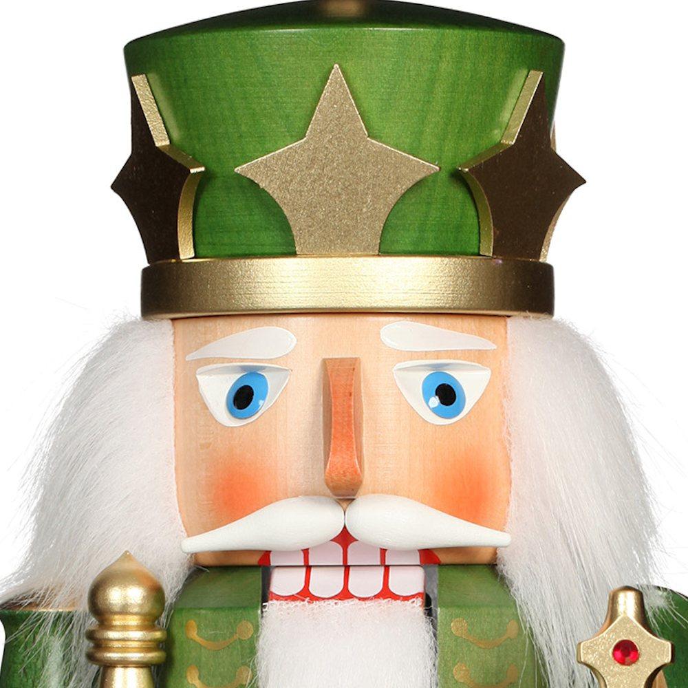 Ulbricht Nussknacker König grün gold lasiert