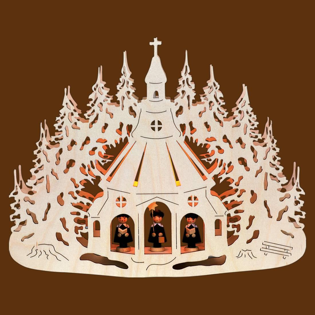 SAICO Fensterlicht Seiffener Kirche mit Figuren