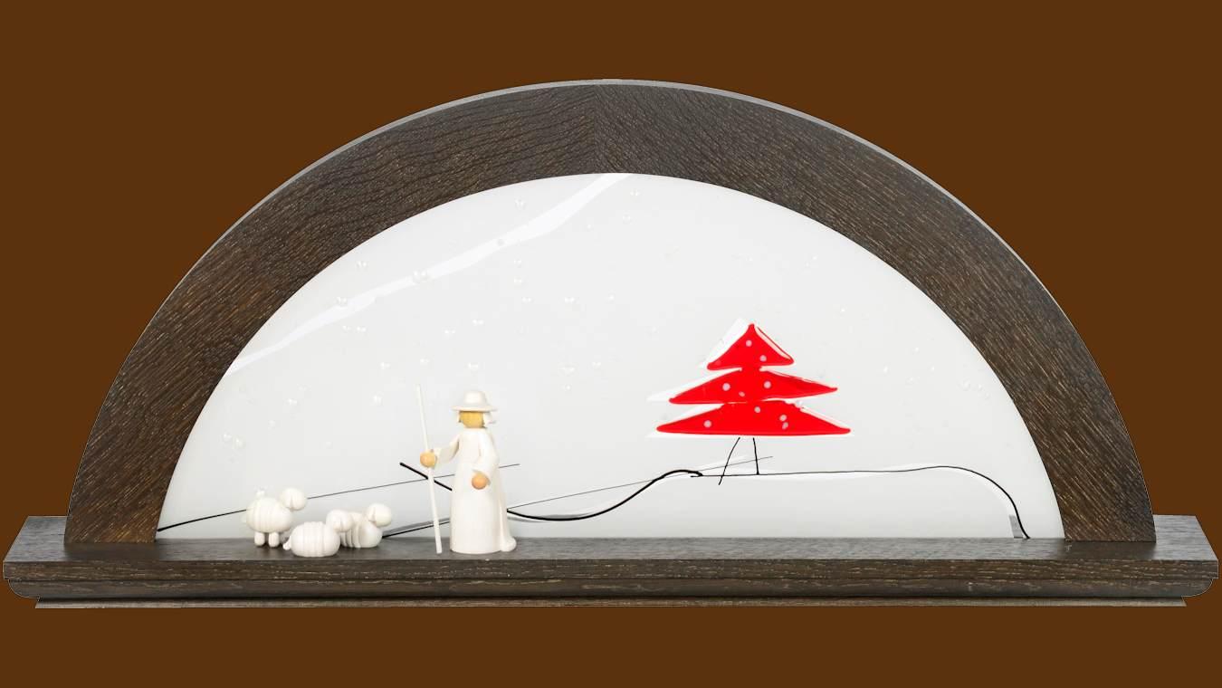 LED Schwibbogen Eiche - Farbton Mooreiche mit Glas - Tanne rot von KWO