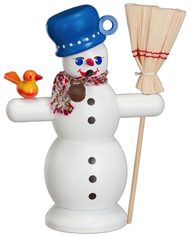 Räuchermännchen Schneemann mit blauem Topf
