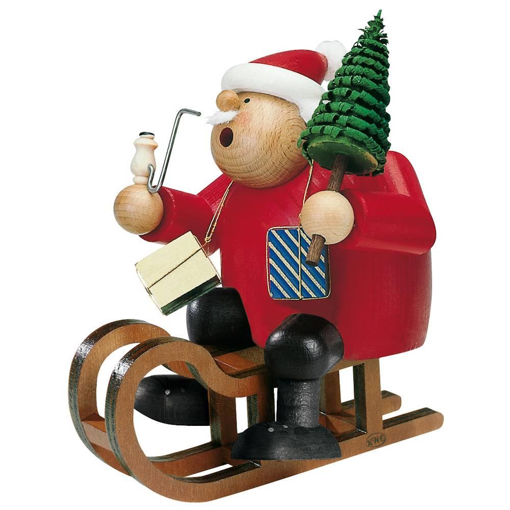 Räuchermann Weihnachtsmann mit Schlitten und Baum