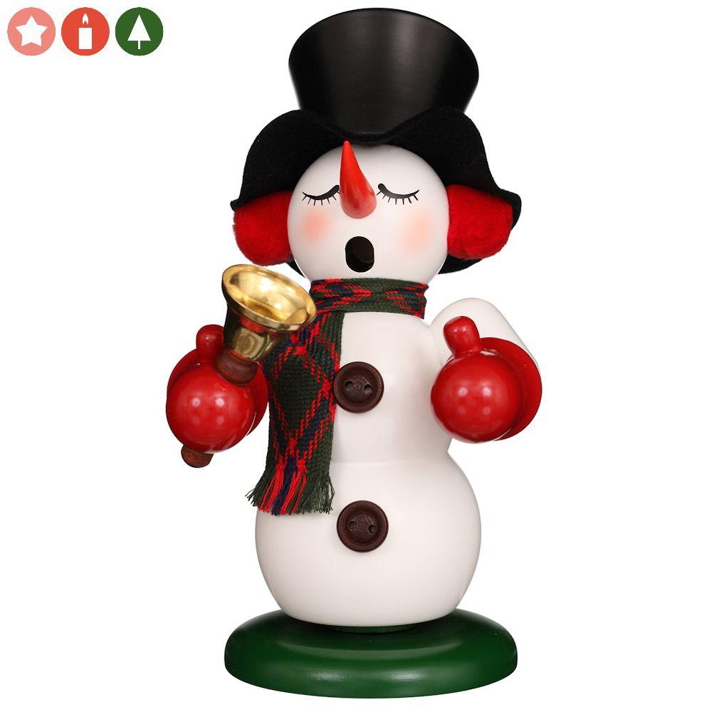 Räuchermännchen Schneemann mit Glocke weiss
