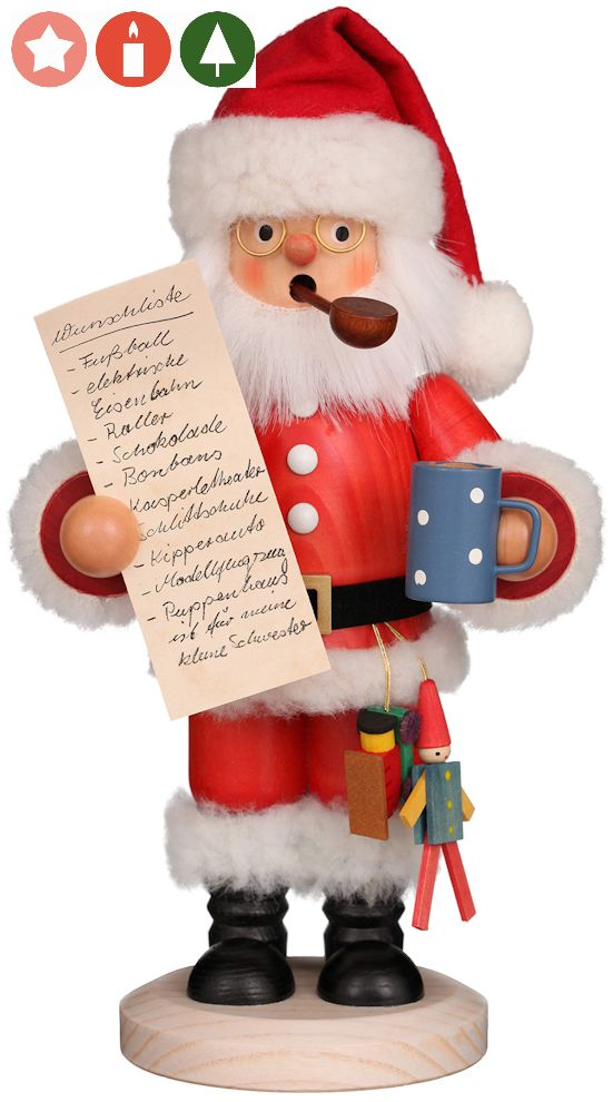 Räuchermännchen Weihnachtsmann mit Wunschzettel