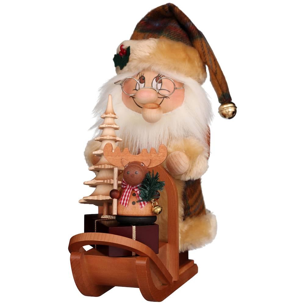 Räuchermännchen Wichtel Weihnachtsmann mit Schlitten